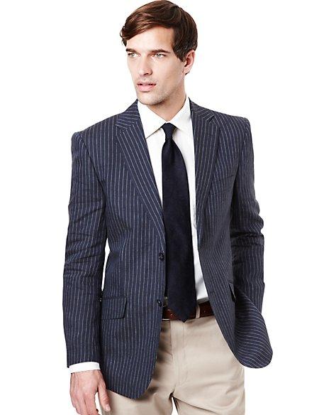 2'' Longer Pure Linen Slim Bold Striped Jacket