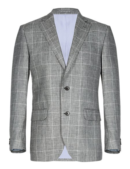 2 Button Large Checked Jacket with Linen