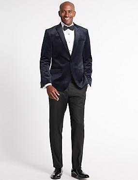 Big & Tall Velvet Navy Tailored Fit Jacket, NAVY, catlanding