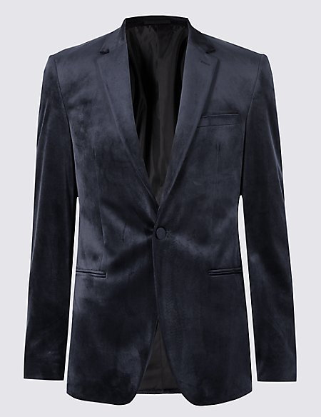 Velvet Navy Tailored Fit Textured Jacket