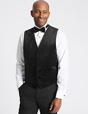 Black Textured Tailored Fit Waistcoat