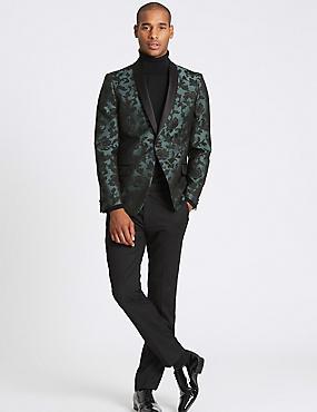 Slim Fit Floral Jacket, DARK GREEN, catlanding