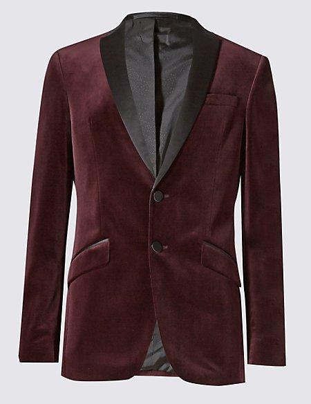 Pure Cotton Tailored Fit 2 Button Velvet Jacket