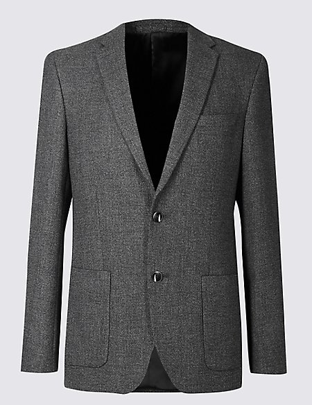 Wool Blend Tailored Fit 2 Button Jacket