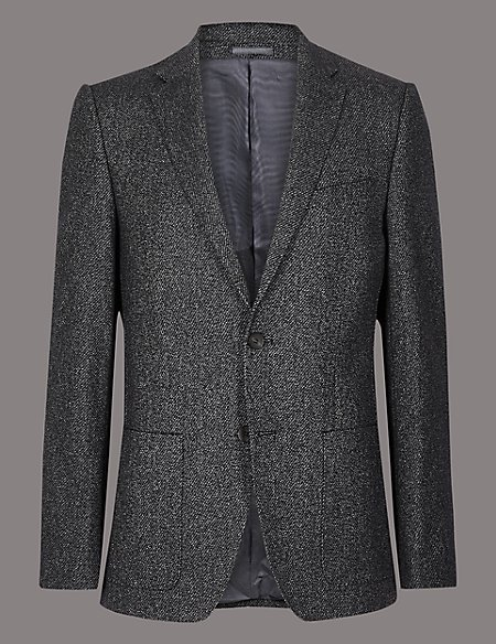 Wool Blend Textured Tailored Fit Jacket