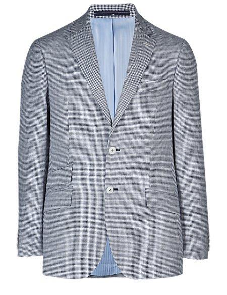 Pure Linen 2 Button Puppytooth Jacket