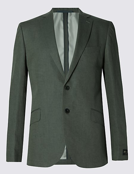 Linen Blend Tailored Fit 2 Button Jacket
