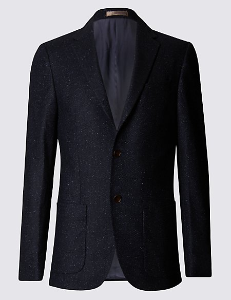 Wool Blend Tailored Fit Two Tone 2 Button Jacket