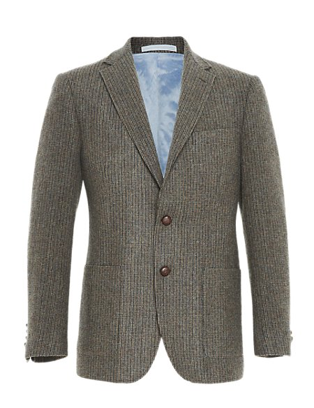 Heritage Wool Rich 2 Button Checked Jacket