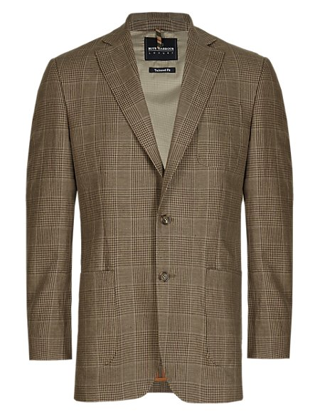 Luxury 2 Button Pure Linen Checked Jacket