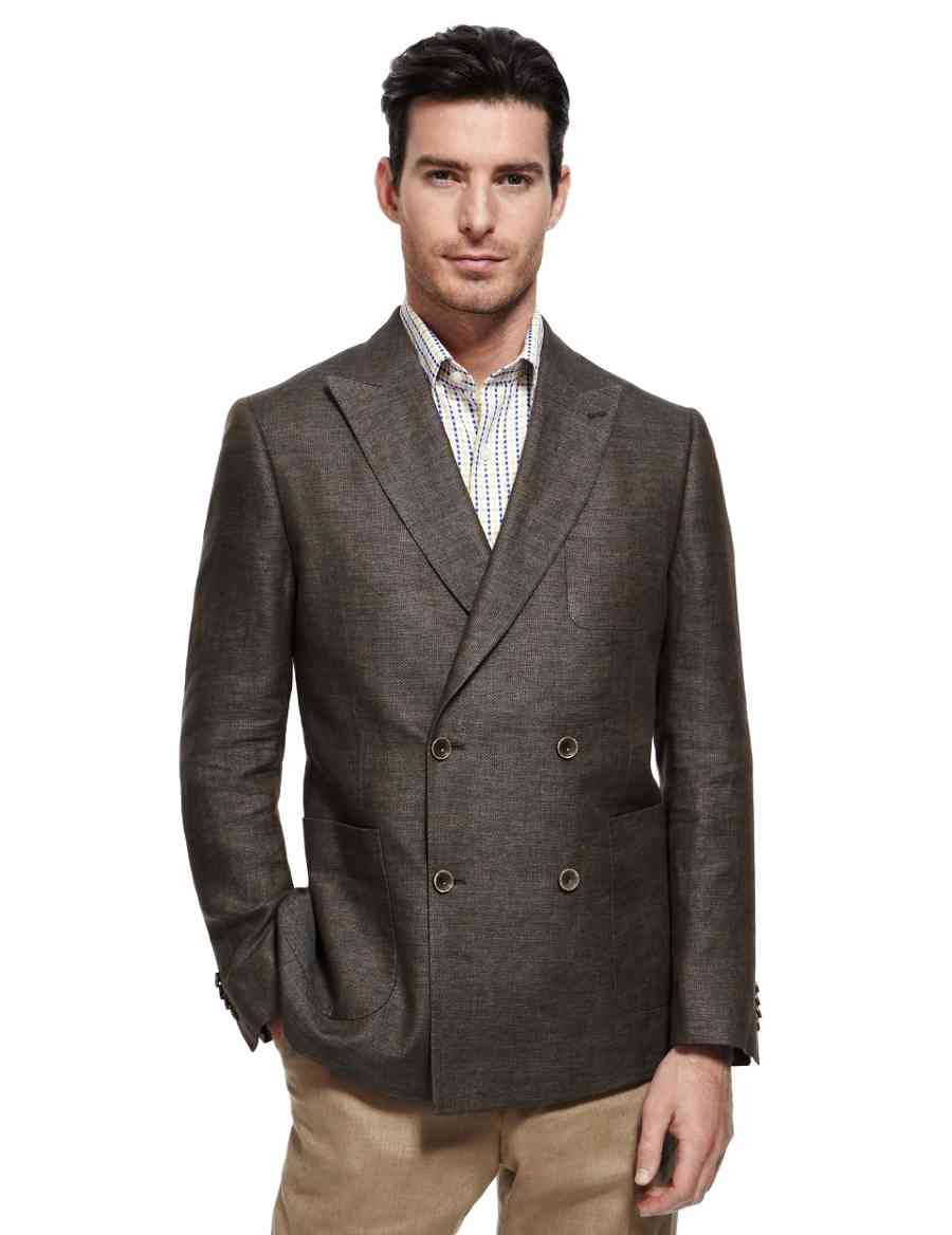 a95b0b73605 Pure Linen Double Breasted Jacket