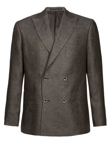 Pure Linen Double Breasted Jacket
