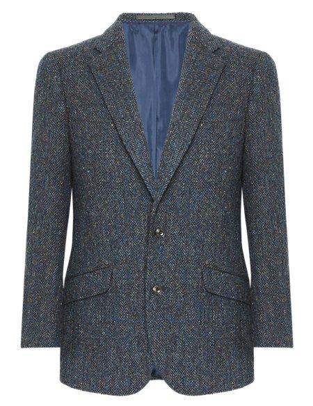 Pure New Wool Harris Tweed Herringbone Jacket