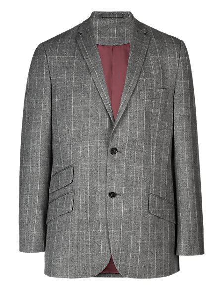 Pure New Wool 2 Button Prince of Wales Checked Jacket