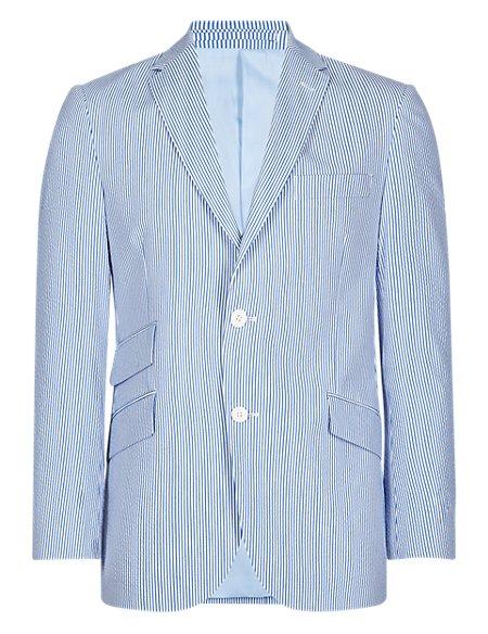 Tailored Fit 2 Button Striped Seersucker Jacket