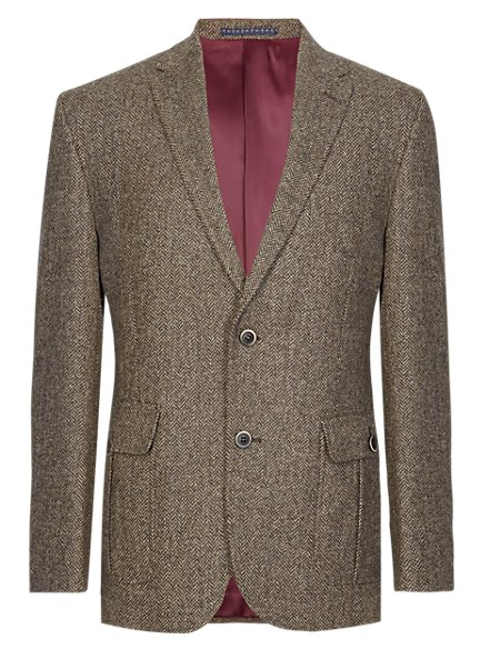 Pure Wool Tailored Fit 2 Button Herringbone Jacket