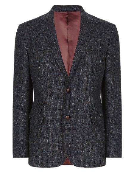 Pure New Wool Tailored Fit Herringbone Check Jacket