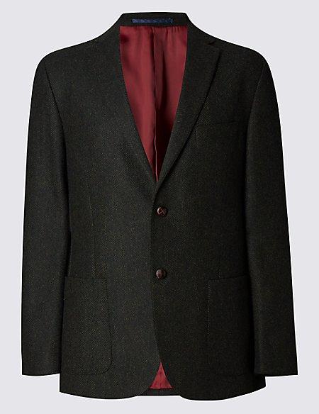 Pure New Wool 2 Button Herringbone Jacket
