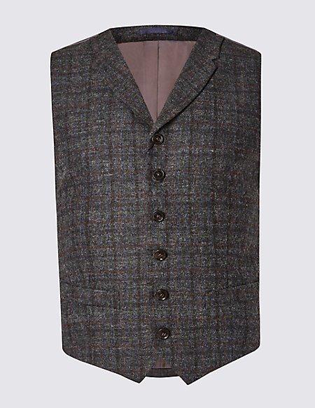 Pure Wool Checked Waistcoat