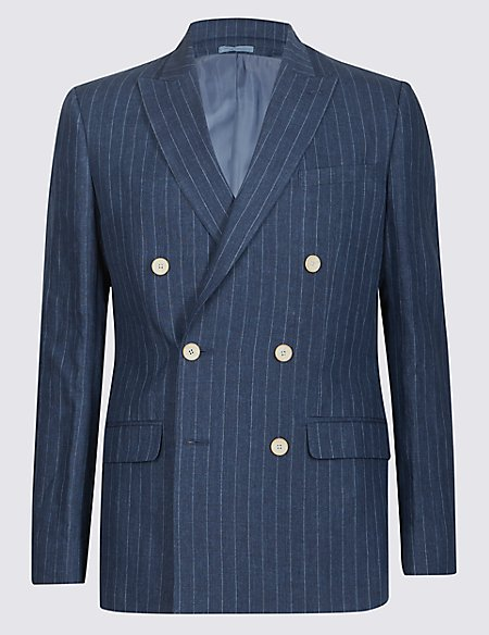 Pure Linen Tailored Fit Striped Jacket