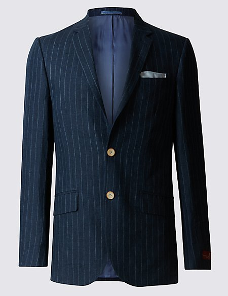 Big & Tall Pure Linen Striped Tailored Fit Jacket