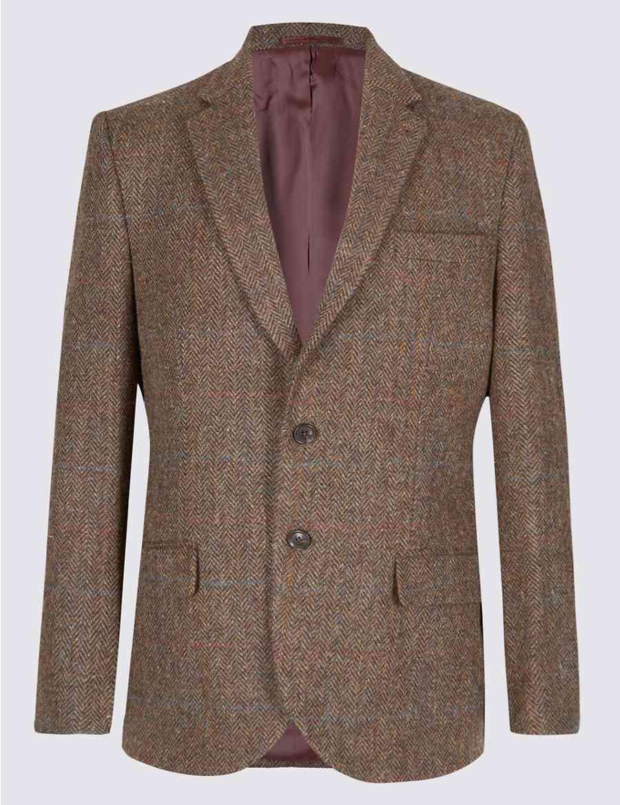 Harris Tweed Pure Wool Herringbone Jacket   M S Collection Luxury   M S cd0511f3e7e