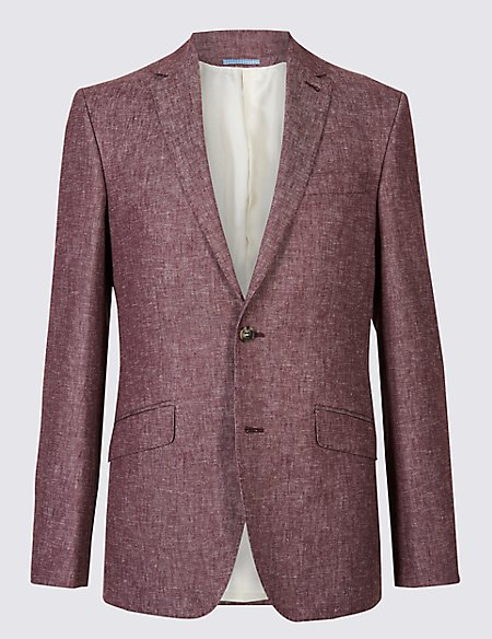 Linen Blend Tailored Fit Textured Jacket
