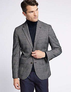 Checked Tailored Fit Jacket