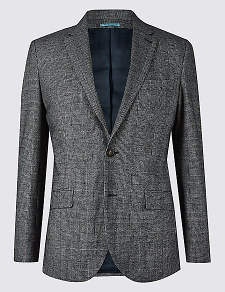 Cotton Rich Checked Tailored Fit Jacket