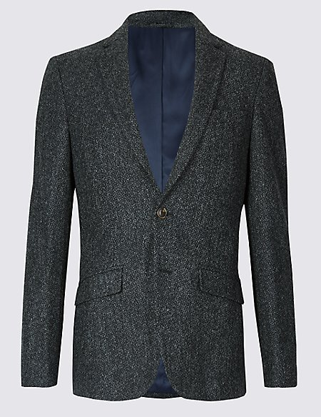 Charcoal Pure Wool Slim Fit Textured Jacket