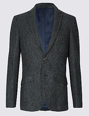Charcoal Pure Wool Slim Fit Textured Jacket, CHARCOAL, catlanding