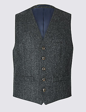 Charcoal Pure Wool Tailored Fit Textured Waistcoat