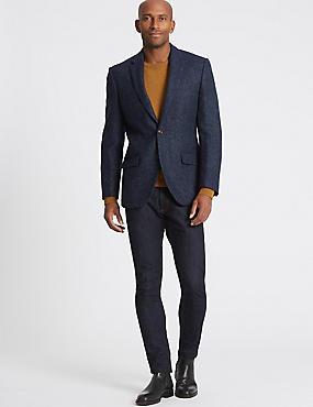 Pure Wool Regular Fit Textured Jacket, BLUE, catlanding