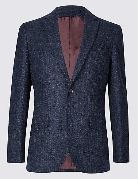 Pure Wool Regular Fit Textured Jacket