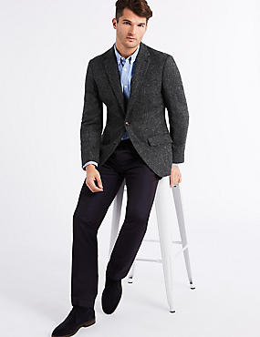 Pure Wool Regular Fit Textured Jacket