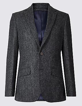 Pure Wool Regular Fit Textured Jacket, CHARCOAL, catlanding