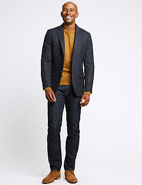 Pure Wool Textured Tailored Fit Jacket