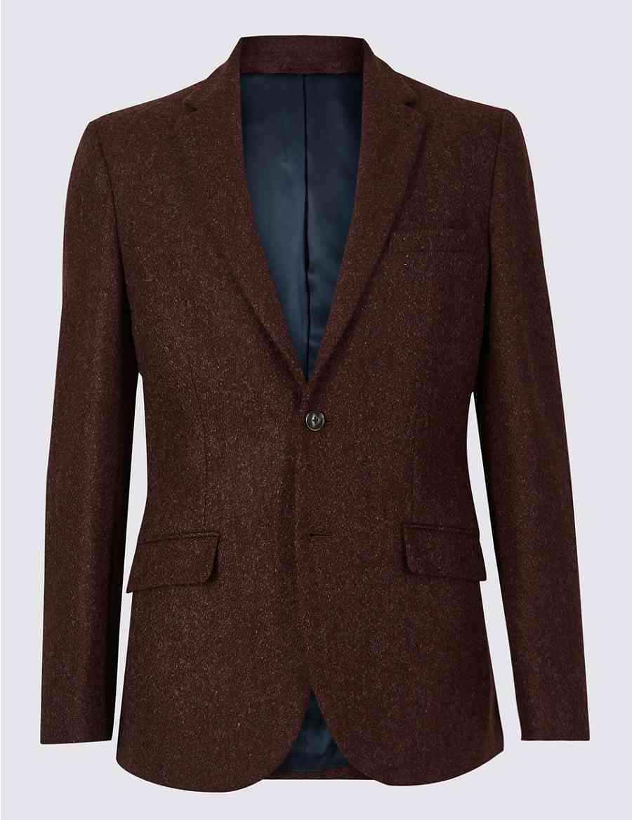082faf792e0 Textured Tailored Fit Wool Jacket