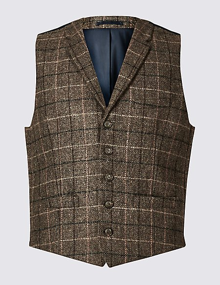 Pure Wool Checked Regular Fit Waistcoat