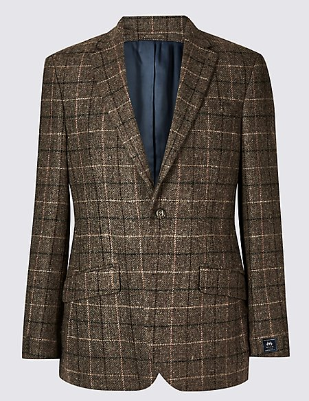 Pure Wool Brown Checked Regular Fit Jacket