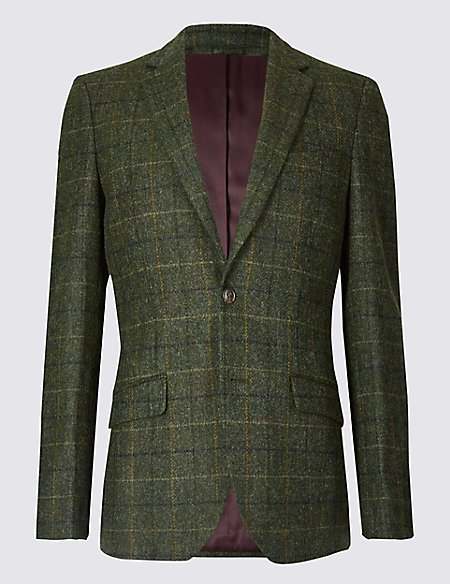 Pure Wool Checked Tailored Fit Jacket