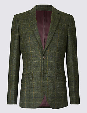 Pure Wool Tailored Fit Checked Jacket, GREEN, catlanding