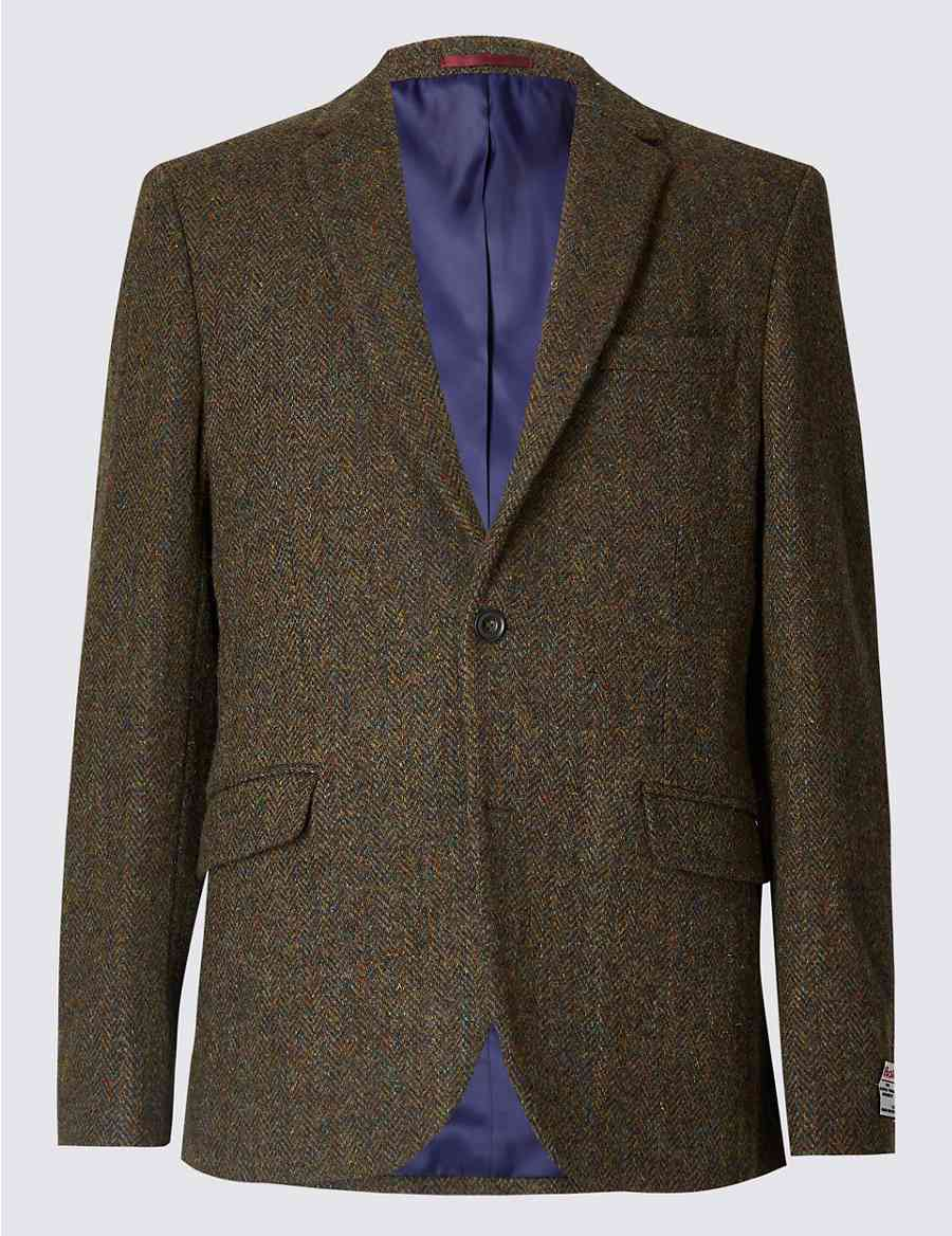 Pure Wool Harris Tweed Tailored Jacket   M S Collection Luxury   M S 26f5255beee