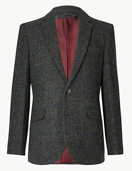 Pure Wool Navy Harris Tweed Tailored Jacket