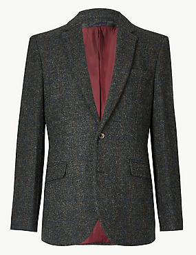 Navy Pure Wool Tailored Fit Jacket, NAVY, catlanding