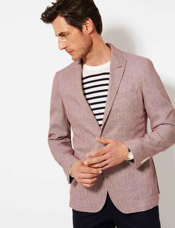 d271e82a746 Linen Rich Textured Tailored Fit Jacket
