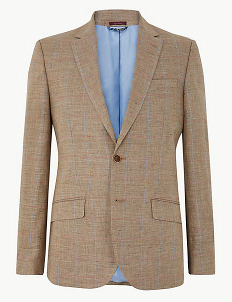 Big & Tall Pure Linen Checked Jacket
