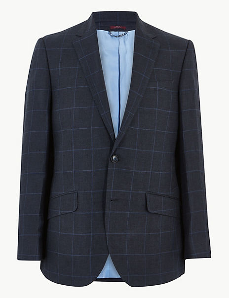 Navy Pure Linen Checked Regular Fit Jacket