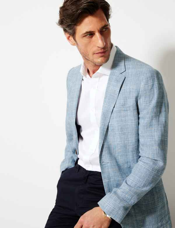 d999e678965 Blue Linen Checked Tailored Fit Jacket