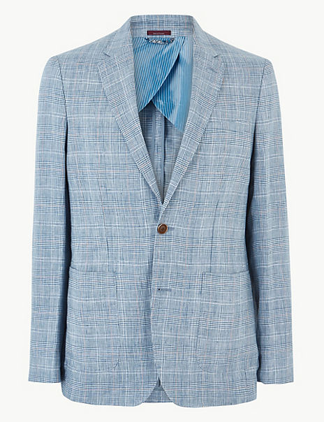 Blue Linen Checked Tailored Fit Jacket